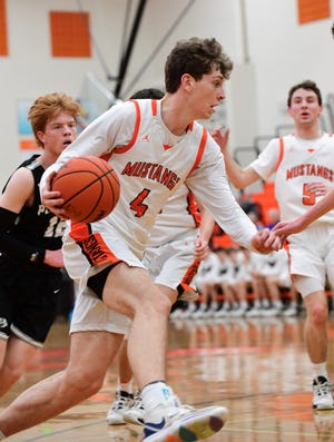 Northville's Zach Shoemaker drives past the Plymouth defense.