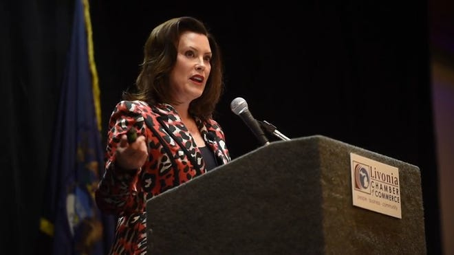 Gov. Gretchen Whitmer shares her plan for funding education as proposed in her budget for next year during a talk March 9 in Livonia.