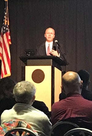 Oshkosh City Manager Mark Rohloff gives his 2020 State of the City Address on Monday, March 9, 2020, at the Oshkosh Convention Center.