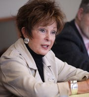Rancho Mirage City Council candidate Maggie Lockridge answers a question from the Desert Sun Editorial Board at The Desert Sun in Palm Springs, Calif. on Tuesday, March 10, 2020.