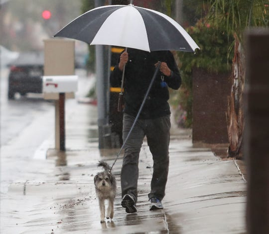 This Desert Sun photo shows a man walking his dog through rain on March 10, 2020. Weather forecasters say more rain is headed to the Coachella Valley beginning April 5 and it'll last all week.