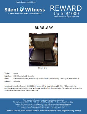 A Silent Witness flyer about two urns stolen from a car trailer on Feb. 20, 2020.