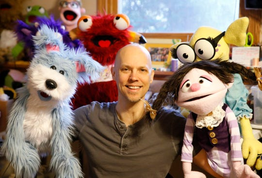 David Manley with some of his puppets at his home in the Town of Newburgh on March 10, 2020. Manley runs Up in Arms Production Company which uses puppeteering in educational programs for elementary school aged children.