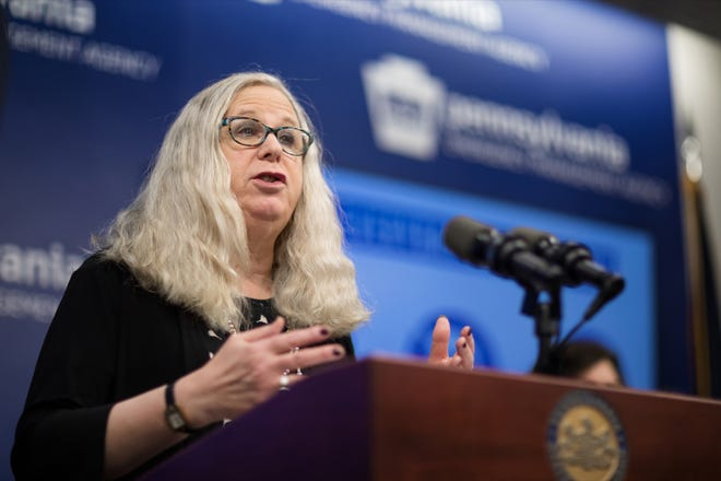 Pennsylvania Department of Health Secretary Dr. Rachel Levine speaks during a press conference, announcing the eleventh presumptive positive case of 2019 Novel Coronavirus (COVID-19) in Pennsylvania, inside PEMA headquarters on Tuesday, March 10, 2020.