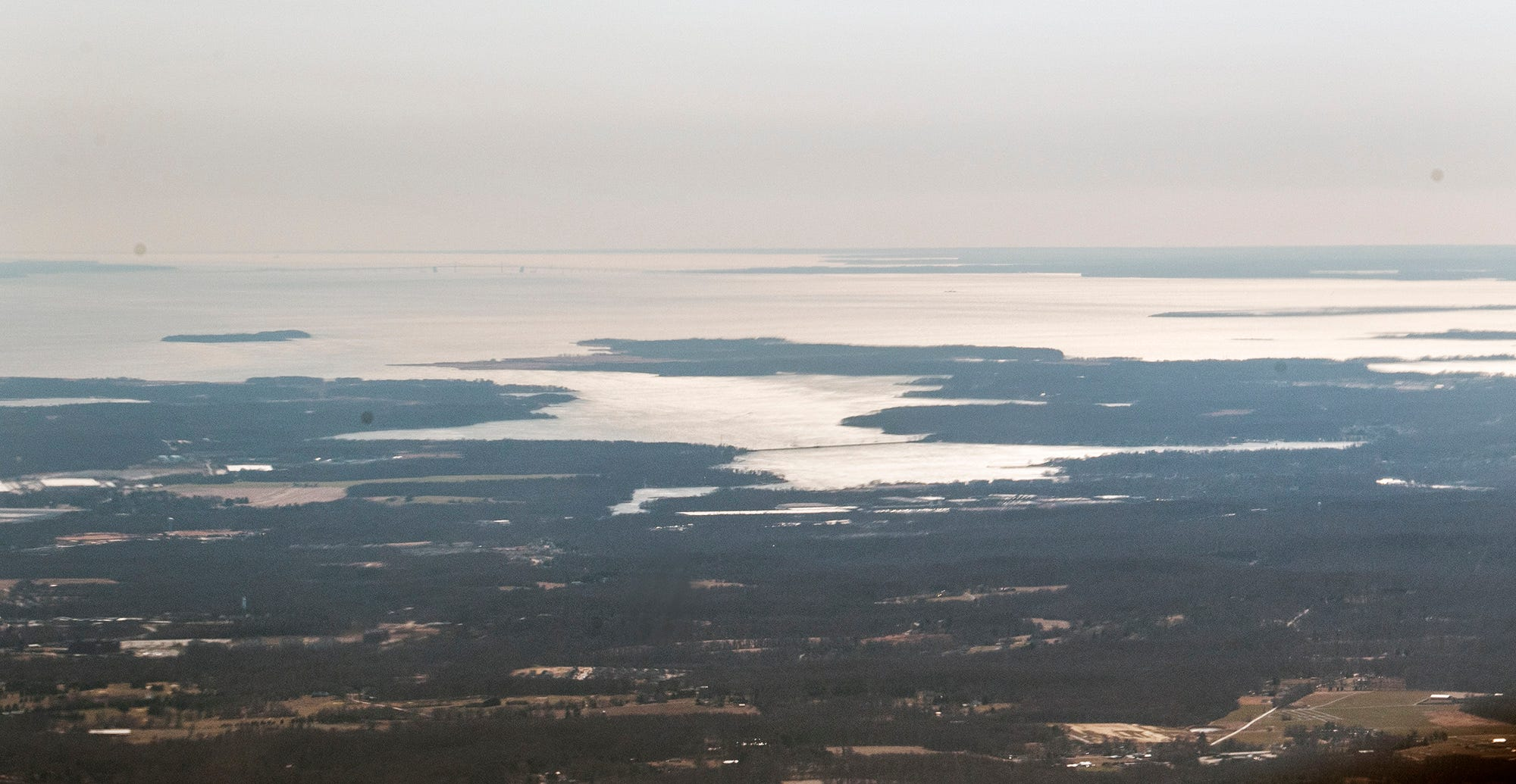 Looking at the Chesapeake Bay from about 4,000 feet over York County, Pa.