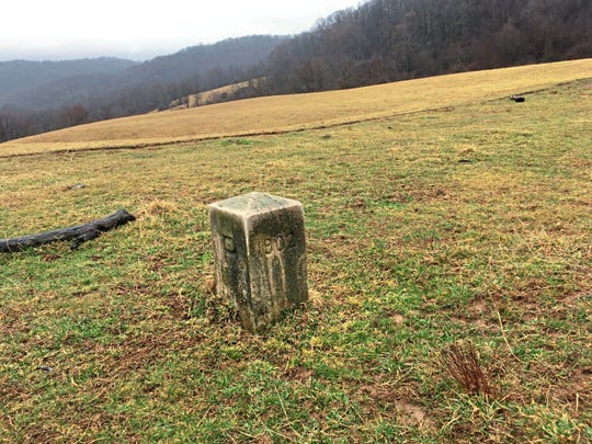 A marker for the Mason-Dixon line sits on Ernest Umbel's farm along Friendsville Road, between Markleysburg, Fayette County, and Friendsville, Md. The marker is from 1902.