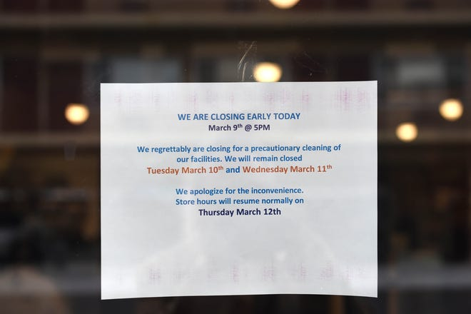 The Patagonia Outlet has a sign on the door that reads that the outlet is closed for precautionary cleaning on Monday afternoon March 9, 2020.