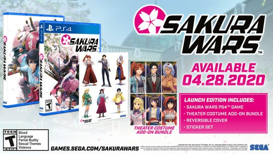 A list of pre-order bonuses for the new Sakura Wars game, including character bundles and stickers.