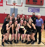 The Pavilion girls basketball team won its first Section V championship since 1981 this season. Pictured are, from left, front: Karlee Zinkievich, Adeline Milligan, Lindsay Lowe, Kodi Beehler, Paige Landers. Back: Assistant coach Amie Bennetti, Lauren Kingsley, Emily Kingsley, Sydney Finch, Shea Amberger, coach Ben Schwenebraten, assistant coach George Schwenebraten.