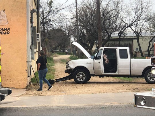 A white pickup crashed through the back wall of the Marquez Bakery, 2101 Ben Ficklin Road #A, in San Angelo Tuesday morning, March 10, 2020.