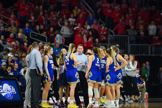 SDSU head coach Aaron Johnston talks to the team during a timeout in the Summit League championship game on Tuesday, March 10, at the Denny Sanford Premier Center in Sioux Falls.