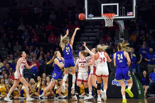 SDSU's Tylee Irwin makes a three-point shot during the Summit League championship game on Tuesday, March 10, at the Denny Sanford Premier Center in Sioux Falls.