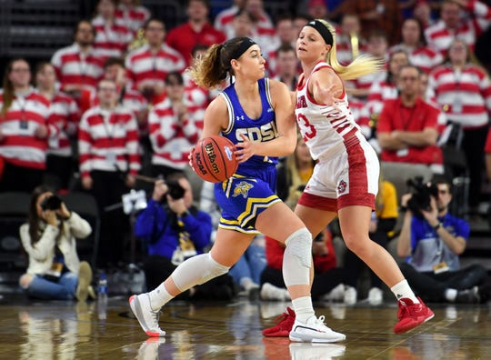 SDSU's Rylie Cascio Jensen is guarded by USD's Madison McKeever in the Summit League championship game on Tuesday, March 10, at the Denny Sanford Premier Center in Sioux Falls.