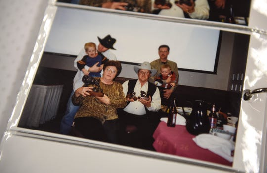 Ed and Deanna Nolz are seen holding trophies in an old photograph on Sunday, March 8, 2020 at their bison ranch in northern Sioux Falls. The Nolz family got in the bison business in 1992 after Ed experienced heart issues. Deanna says that bison meat is much leaner and healthier.