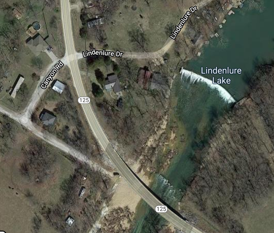 The popular river access point to the Finley River next to Highway 125, lower left,  is now blocked by a fence across private property.