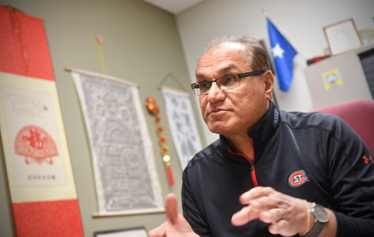 Shahzad Ahmad, associate vice president of St. Cloud State's Center for International Studies, outlines actions the university has taken in response to the COVID-19 outbreak Tuesday, March 10, 2020, in St. Cloud.
