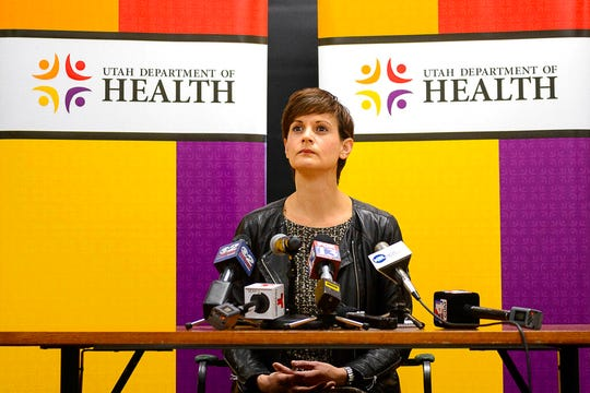 Utah Department of Health State Epidemiologist Dr. Angela Dunn answers questions as Utah health officials announce the state's second case of COVID-19 during a news conference at the Utah Department of Health in Salt Lake City, Tuesday, March 10, 2020. (Trent Nelson/The Salt Lake Tribune via AP)