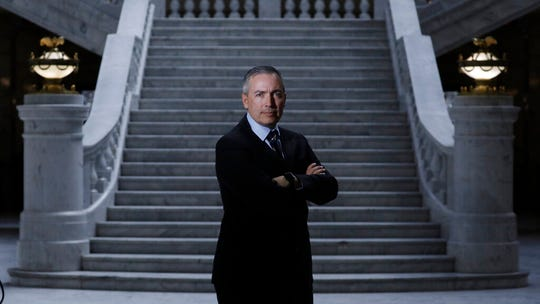 Republican Sen. Dan McCay poses for a portrait at the Utah State Capitol Thursday, Feb. 27, 2020, in Salt Lake City. A panel of lawmakers on Wednesday, Feb. 26, 2020, approved the plan to make performing an abortion a felony punishable by up to 15 years in prison. It has exceptions for cases of rape, incest or serious threat to the health of the mother. If it goes into effect, sponsor McCay said women who wanted an abortion could still travel to other states like Colorado or Oregon. (AP Photo/Rick Bowmer)