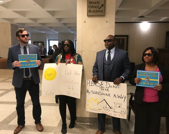 Tallahassee City Commissioner Jeremy Matlow joined a protest against a proposal to exempt university presidential searches from the open records law.