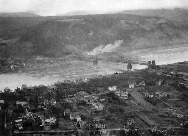 Remagen Bridge in Germany on March 11, 1945.