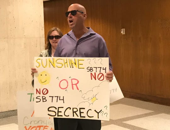 CWA Local 3101 Cocoa Beach President Eric Gosnell participated in a protest at the state capitol against a proposed Sunshine Law exemption, March 10, 2020