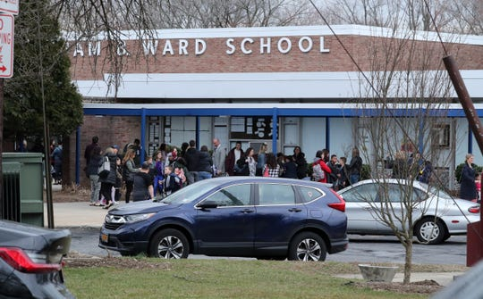 Dismissal time at the William Ward School in New Rochelle March 10, 2020.