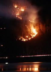 Fires continue to burn along Breakneck Ridge just after midnight on the Dutchess/Putnam border March 10, 2020.