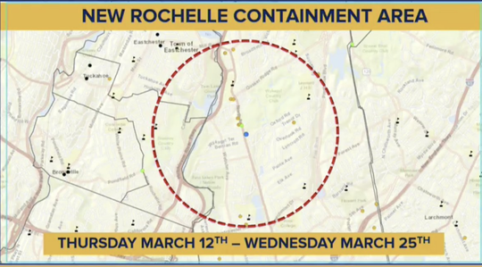 Gov. Andrew Cuomo announced a New Rochelle 'containment area,' where schools and gathering places will be ordered to close for two weeks to help stop the spread of coronavirus; March 10, 2020.