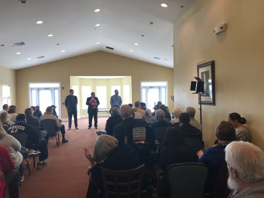 Port Penn residents address County Executive Matt Meyer, Jim Smith, assistant Land Use Manager, and state Rep. Kevin Hensley about a Muslim cemetery.