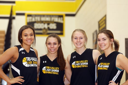 Tri-Valley seniors Kyndal Howe, from left, Lauren King, Audrey Spiker and Karsan Ross have lead the Scotties to the Division II girls basketball Final Four. Tri-Valley's last appearance in the state tournament was during the 2004-2005 season.