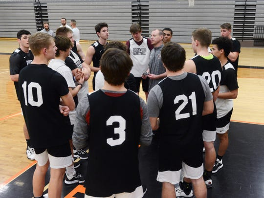 Ridgewood boys basketball coach Troy Dolick talks to the team during practice on Monday at the high school. The Generals will play in the school's first regional tournament in Athens.