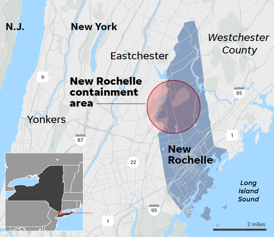 New Rochelle is about 20 miles north of New York City.