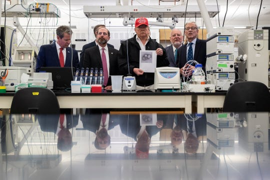 President Donald Trump meets with federal health officials at the Centers for Disease Control and Prevention on March 6.