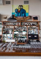 The Oyster Bar at Steve and Cookie's By the Bay, complete with a painting of Margate's Lucy the Elephant.