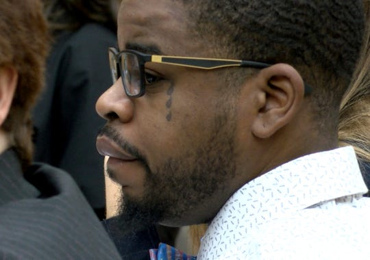 Anthony Barksdale, aka Shakar Barksdale, accused of murder in the shooting death of Steven Stallworth - a drug supplier to whom a codefendant owed a lot of money, is shown on trial before Judge Guy Ryan in State Superior Court in Toms River Wednesday, March 11, 2020