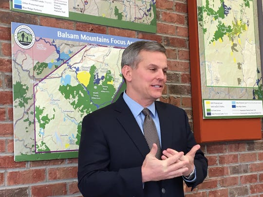 N.C. Attorney General Josh Stein announces four Environmental Enhancement grants totaling nearly $500K March 11 at the Southern Appalachian Highlands Conservancy in Asheville.