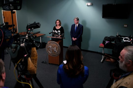 Dr. Elizabeth Cuervo Tilson and North Carolina governor Roy Cooper speak to media at AB Tech after Cooper declared a state of emergency over COVID-19 at an earlier conference March 10, 2020.