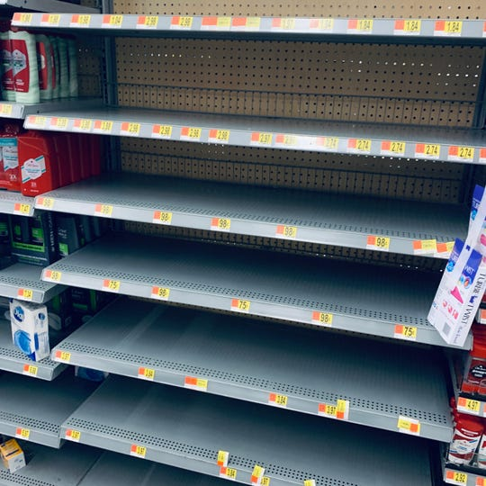 Hand soap and sanitizer remained out of stock at the Walmart in Johnson City, NY on Tuesday night.