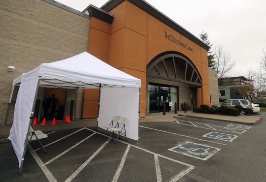 A tent at the entrance of The Doctors Clinic in Silverdale on Wednesday, March 11, 2020.