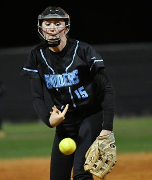 Kylah Berry pitches during a 2020 game.