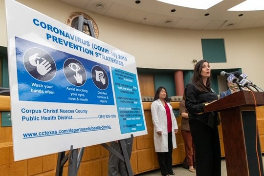 Nueces County Judge Barbara Canales speaks about the preparation for coronavirus in the area at a news conference on Wednesday, March 11, 2020 at Corpus Christi City Hall.