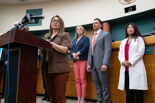 Annette Rodriguez, Director of Public Health for the Corpus Christi-Nueces County Public Health District, during a press conference on the areas preparation for the coronavirus on Wednesday, March 11, 2020.