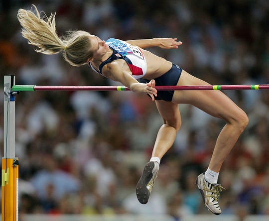 Calallen graduate Amy Acuff is a five-time Olympic high jumper and still holds the girl's Texas UIL high jumping record.