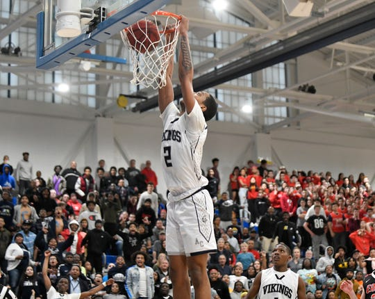 Atlantic City's Stephen Byard dunks during the South Jersey Group 4 boys basketball final against Cherry Hill East. The Vikings topped the Cougars, 61-44, on Tuesday, March 10, 2020.