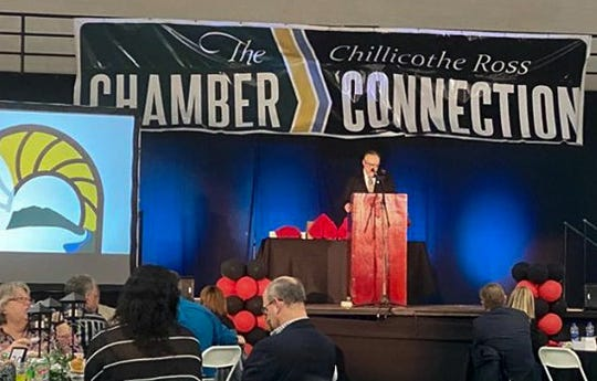 Chillicothe-Ross Chamber of Commerce President and CEO Mike Throne speaks during the chamber's annual dinner. During the event, four awards were given and keynote speaker Quint Studer spoke on Chillicothe's downtown resurgence.
