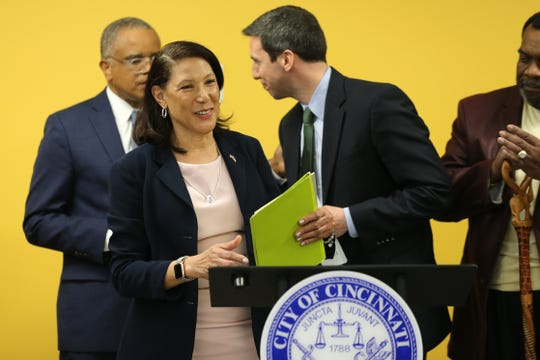 Jan-Michele Lemon Kearney is introduced as the newest member of Cincinnati City Council, , Wednesday, March 11, 2020, at Hirsch Recreation Center. Lemon Kearney replaces the seat vacated by Tamaya Dennard.