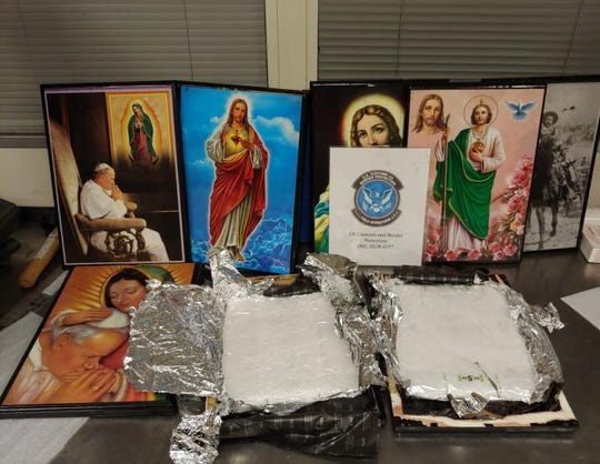 Over 9 pounds of methamphetamine were found concealed in religious paintings in Cincinnati.