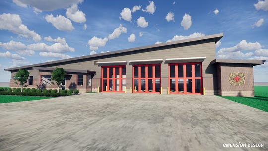 This is a rendering of the front bays of the new Duff Road fire station planned in West Chester Township. The old station is being demolished and construction of the new station is set to begin next month.