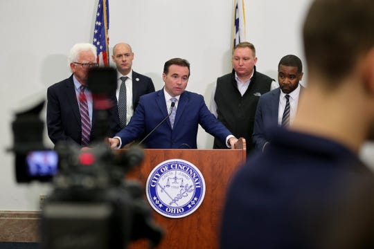 Cincinnati Mayor John Cranley answers questions after he declared a state of emergency throughout the city in response to the COVID-19 outbreak, Wednesday, March 11, 2020, at City Hall in Cincinnati.