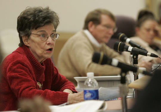 Clarksville-Montgomery County School Board member Eula Gardner Dowdy speaks during a March 2008 board meeting.